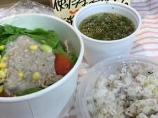いちばのランチセット 豚しゃぶサラダ 自家製沼田蕎麦の実ドレッシングがけ