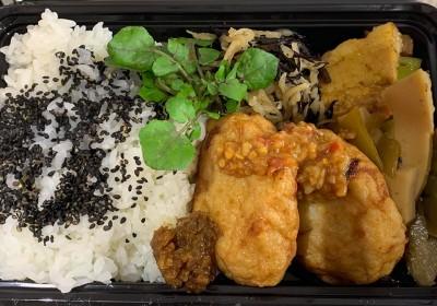 月間ご当地食堂 日替りは平戸名物 川内かまぼこし白孝屋さんの鮮魚のハンバーグ 平戸生姜味噌添え