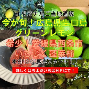 ご当地産直通販 今が旬!広島県生口島グリーンレモン、希少品種!愛媛県西条市の有機いちじく蓬莱柿(ほうらいし)※販売は終了いたしました