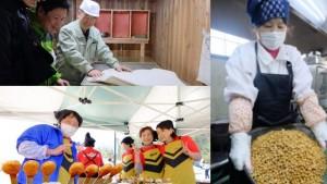 【加工グループ】 町内の3事業者(せら・すーみや、世羅生活研究グループ、せら恋し)それぞれ町内で農家民宿や農家レストラン、町内の物を使って様々な加工品を作っています。